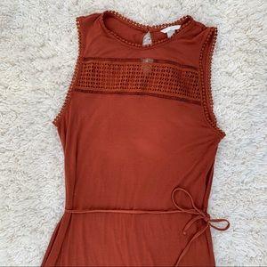 H&M burnt orange tank dress with crochet top